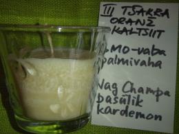 Lõhnaküünal - kristallidega - oranž kaltsiit - UUS