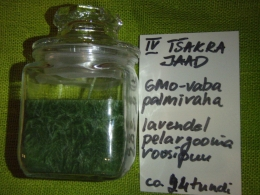 Lõhnaküünal - kristallidega - roheline jaad