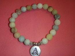 Amasoniit - lihvitud helmestest käevõru - Buddha - VIIMASED