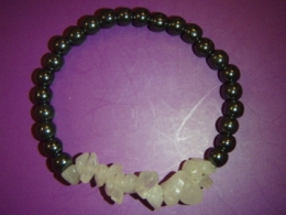 Hematiit + roosa kvarts - tsipsidest ja helmestest käevõru - ALLAHINDLUS