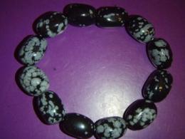 Obsidiaan - lumiobsidiaan -  käevõru