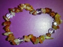 Karneool - tsipsidest käevõru mäekristalliga