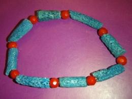 Korall - sinine ja punane korall - käevõru