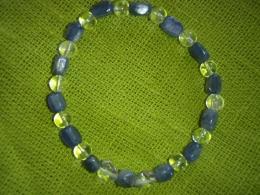 Küaniit - sinine küaniit - käevõru mäekristalliga - UUS