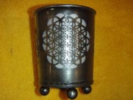 Küünlaalus klaasiga - Elulill - hõbedatooni pronks
