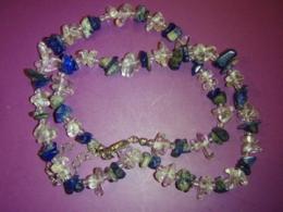 Lasuriit (Lapis Lazuli) - lasuriit ja mäekristall - tsipsidest ja helmestest kaelakee - ALLAHINDLUS