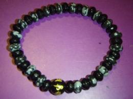 Obsidiaan - lumiobsidiaan ja must obsidiaan - käevõru mantrahelmega