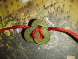 Hiina õnnemündid - amuletid - 3 münti paelaga kokkusõlmitud - VIIMASED