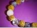 Erinevad poolvääriskivid - käevõru - Kuldne kolmik +  rudraksha seemned