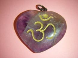Ametüst - ripats -süda - sanskriti AUM sümboliga - JUUBELIALLAHINDLUS