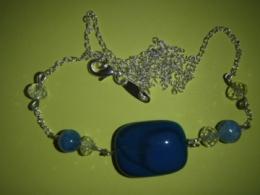 Ahhaat - sinine ahhaat - hõbeketiga kaelakee - ALLAHINDLUS