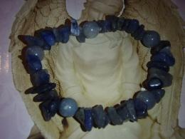 Kvarts - sinine kvarts - tsipsidest ja helmestest käevõru