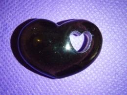 Obsidiaan - must obsidiaan - lihvitud süda - ALLAHINDLUS